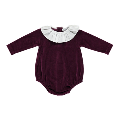 Rosie Velour Romper - Grape Wine ★ONLY 18M★