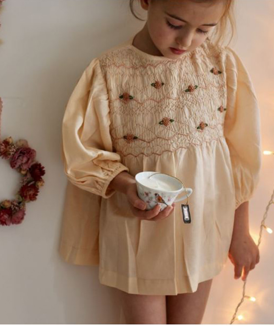 Smock blouse - Solid nude twill