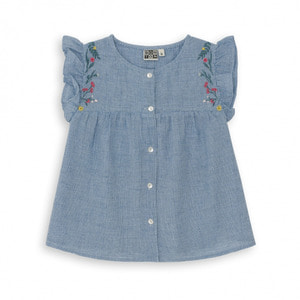 Blue Gingham Embroided Top - Vichy Bleu