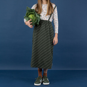 Diagonal Stripes Wv Braces Long Skirt - Dark Green/Pistacho