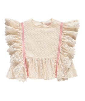 Paola Top - Cream Flower Lace  ★ONLY 8Y★