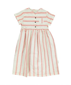 Long Dress - White W/ Red Stripes