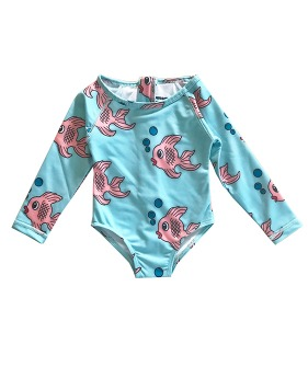 Surf Onesie - Blue Fish