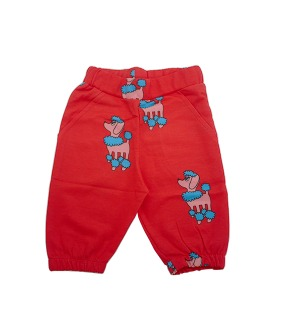 Knee Sweat Shorts - Red Poodles