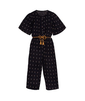 Minerva Jumpsuit With Cording Belt - Print