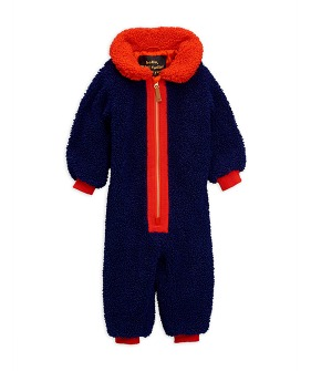 Faux Fur Baby Overall -  Blue