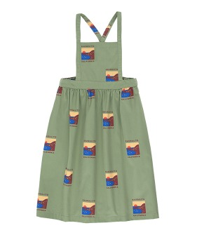 Sausalito Braces Long Skirt - Green Wood/Aubergine