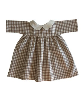 Liilu Collar Dress CHECK - Natural + Check