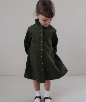 Fanette Dress - Olive Corduroy
