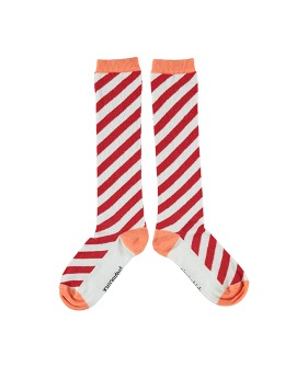 Socks - Red & Coral Diagonal Stripes
