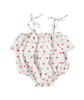 Baby Playsuit With Frills On Chest And Straps - Red Hearts Pattern