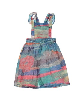 Long Sequin Apron Dress - Multicolored Pattern