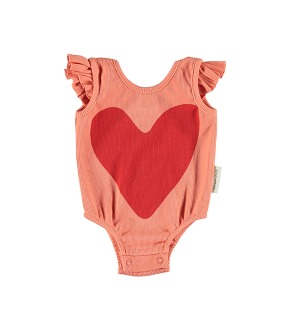 Ribbed Body With Frills On Shoulders - Coral W/ Red Heart