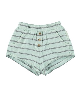 Shorts - Greenwater & Grey Stripes Cotton Fleece