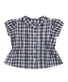 Dolly Blouse - small gingham in ink blue