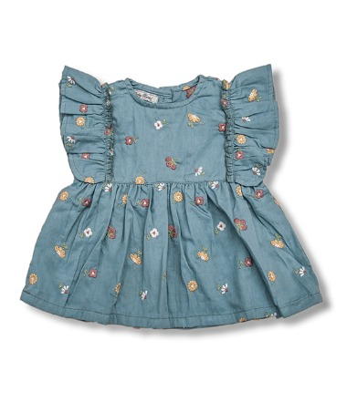 Uniqua Top - Duck Blue With Flower Badge
