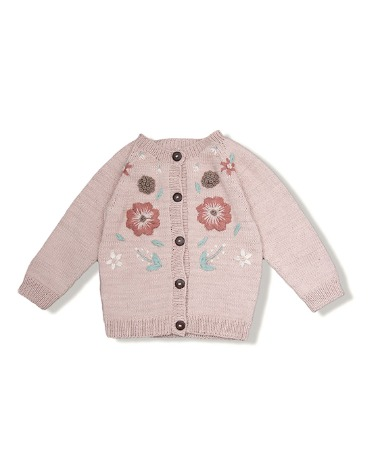 Flora Summer Cardigan - Dusty Pink With Floral Embroidery
