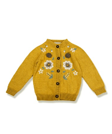 Flora Summer Cardigan - Mustard With Floral Embroidery