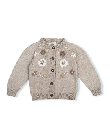 Flora Summer Cardigan - Nude With Floral Embroidery