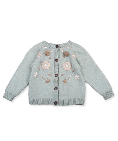 Flora Summer Cardigan - Duck Blue With Floral Embroidery