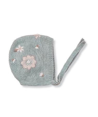 Flora Summer Bonnet - Duck Blue With Floral Embroidery