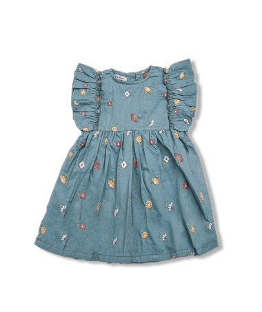 Uniqua Dress - Duck Blue With Flower Badge