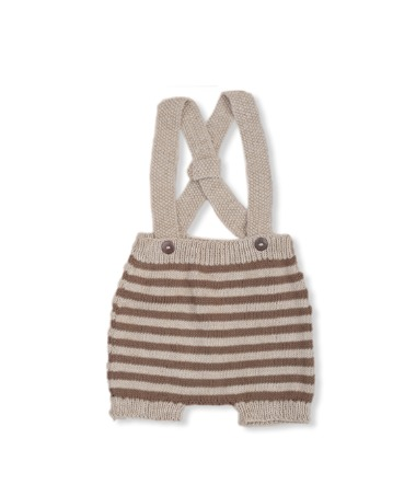 Suspender Shorts - Nude With Nutty Brown Stripes