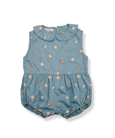 Uniqua Vintage Romper - Duck Blue With Flower Badge