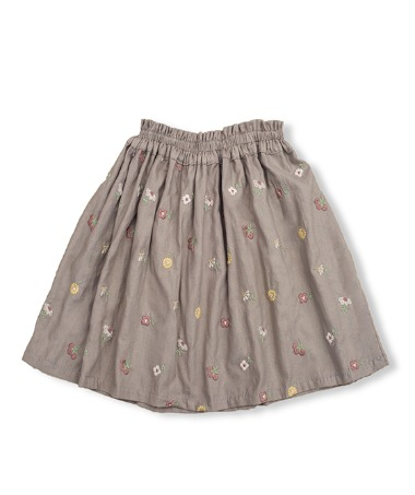 Uniqua Skirt - Taupe With Flower Badge