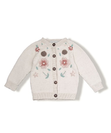 Flora Summer Cardigan - Cream White With Floral Embroidey