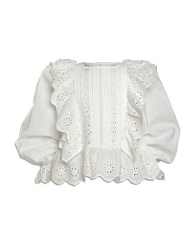 Long Sleeve Embroidered Trim Blouse - White