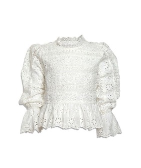 Long Sleeve Ribbon Lace Blouse - White