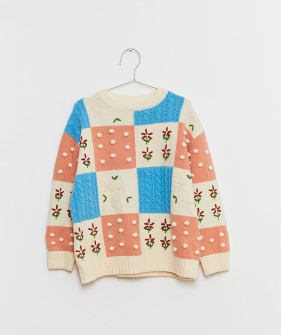 Patchwork Sweater (Kids & Mom) - Pink