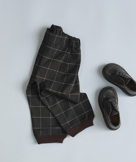 Porter Trousers - Brown Block Check ★ONLY 8-9Y★
