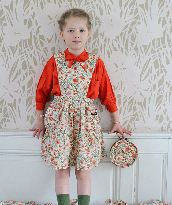 Apron Dress - Flower block