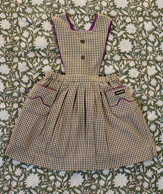 Apron Dress With Piping - Check Fabric