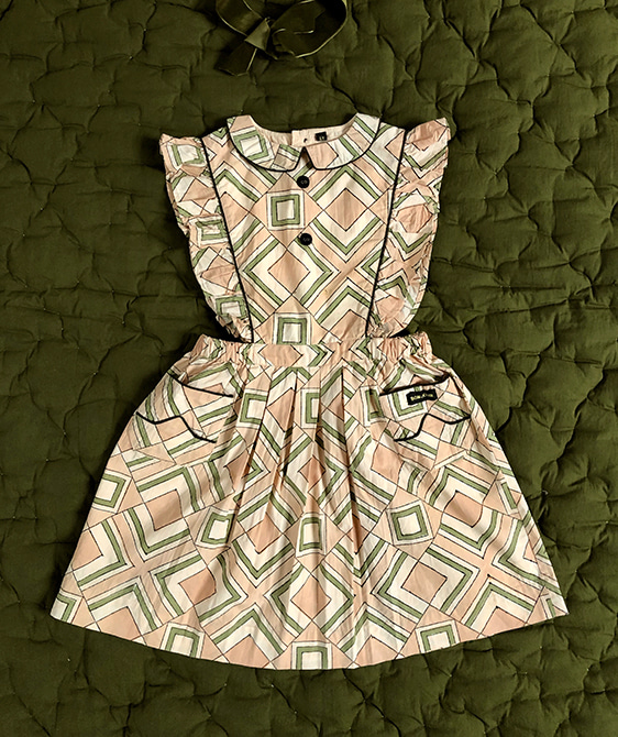 Apron Dress With Piping - Tile Print Poplin