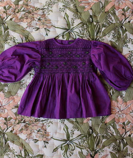 Balloon Handsmock Blouse - Purple