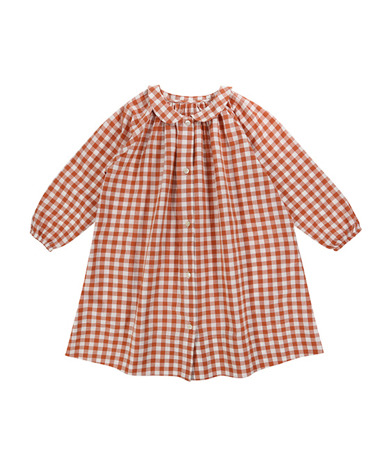Pippa Smock Dress - Rust Gingham