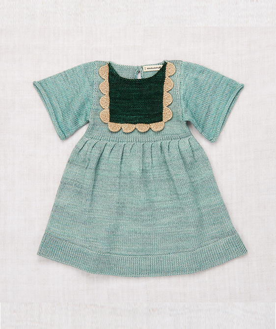 Scallop Bib Dress - Sage ★ONLY 3-4Y★
