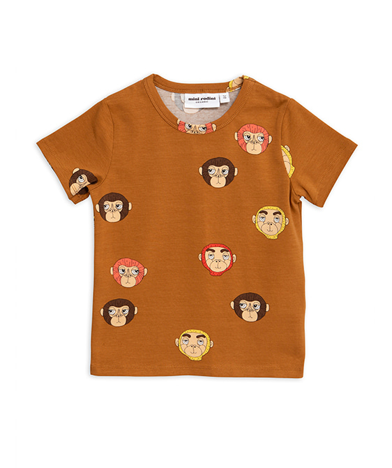 Monkeys Aop SS Tee - Brown ★ONLY 80/86★
