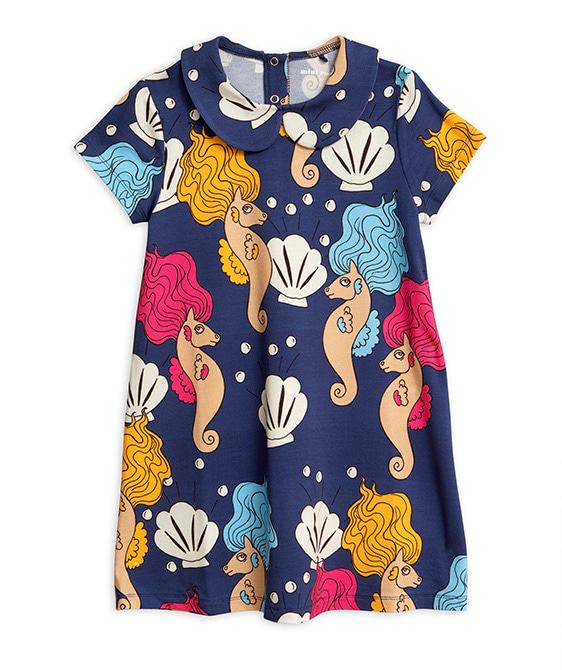 Seahorse Collar SS Dress-Navy ★ONLY 92/98★