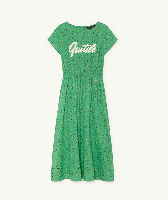 Marten Kids Dress - Green Dots