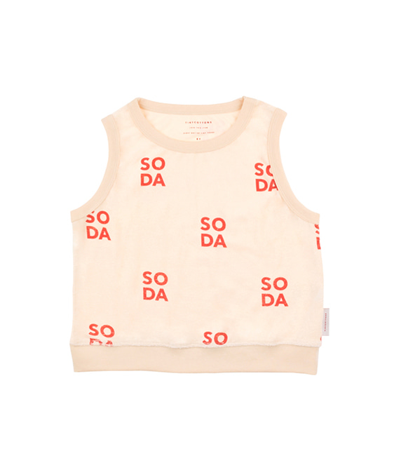 'Soda' Cropped Vest - Cream/Red