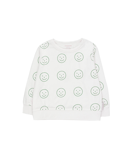 'Happy Face' Sweatshirt - Off-White/Deep Green ★ONLY 10Y★