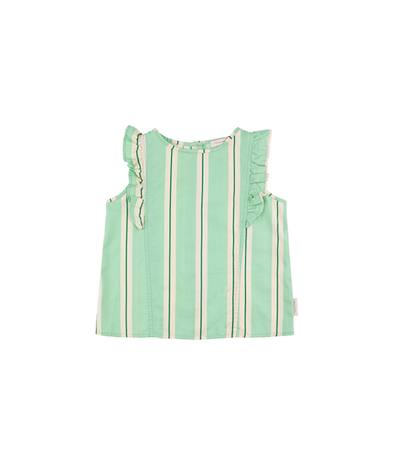'Retro Stripes' Ruffles Blouse - Emerald/Cream