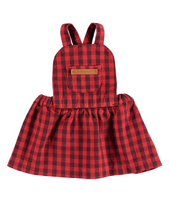 Baby Dungaree Dress - Garnet & Grey Checkered