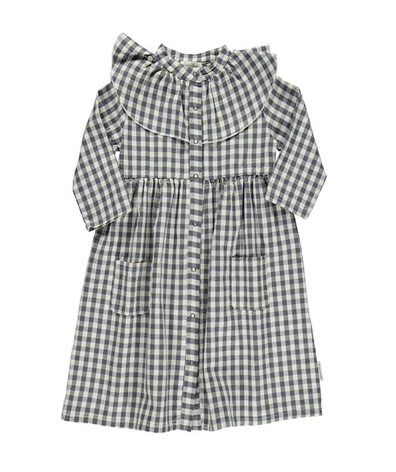 Long Dress With Big Frill Collar - Ecru & Gey Checkered