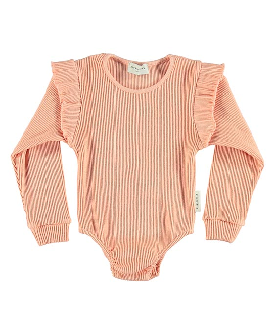 Ribbed Longsleeve Body With Frills - Coral