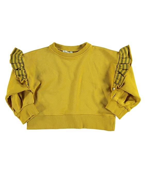 Sweatshirt With Frills On Shoulders - Mustard